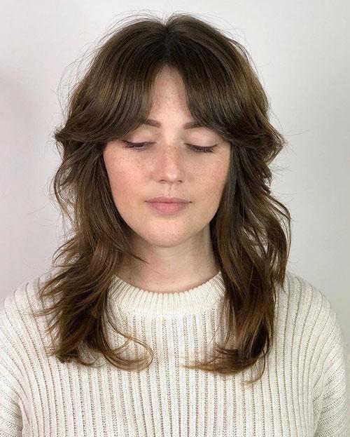 Long Bangs Medium Hair