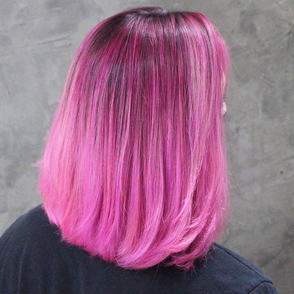 Pink Medium Hairstyles