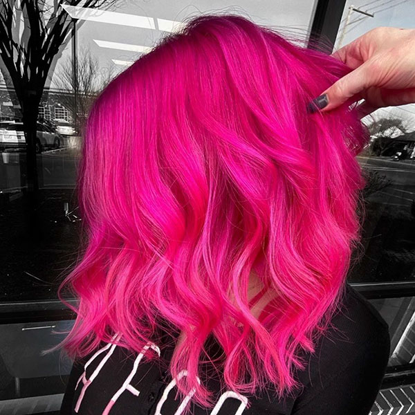 Medium Haircuts For Pink Hair