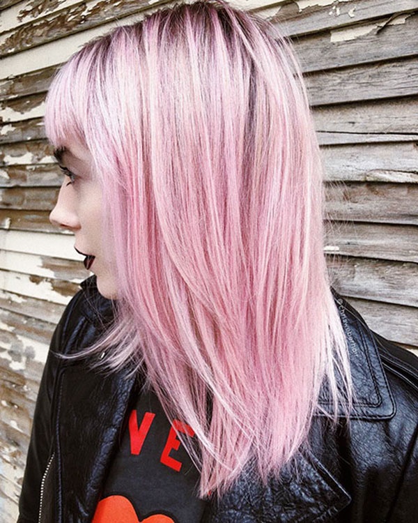 Pink Hair Color Styles For Medium Hair