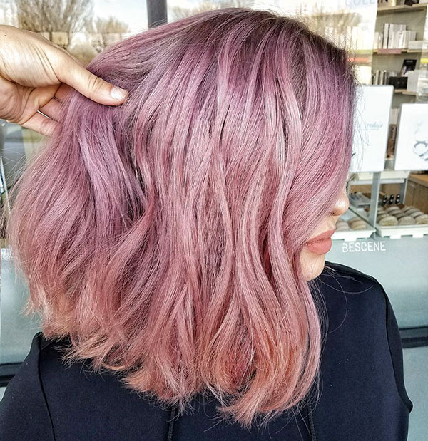 Medium Hair Styles For Pink Hair