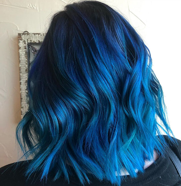 Blue Medium Hair
