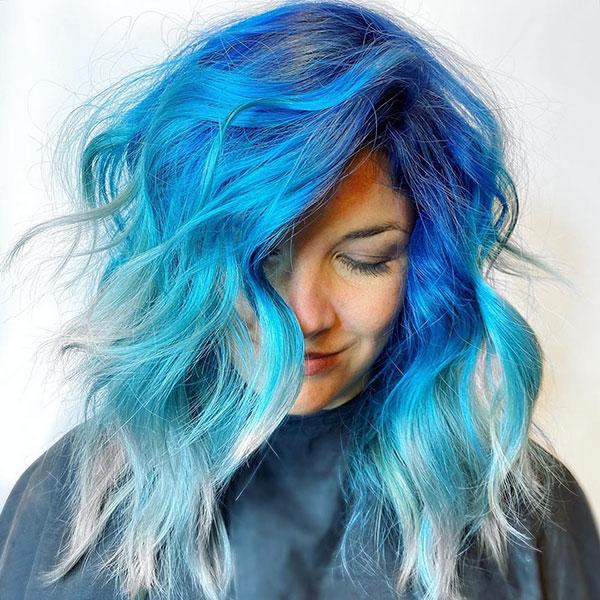 Blue Hairstyles For Medium Hair