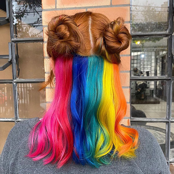 Medium Rainbow Hair Color
