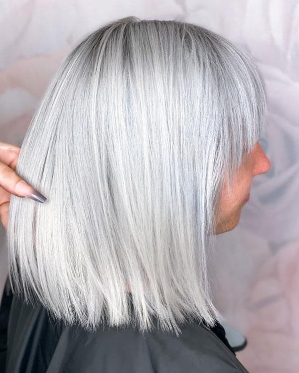Medium Cut With Platinum Hair